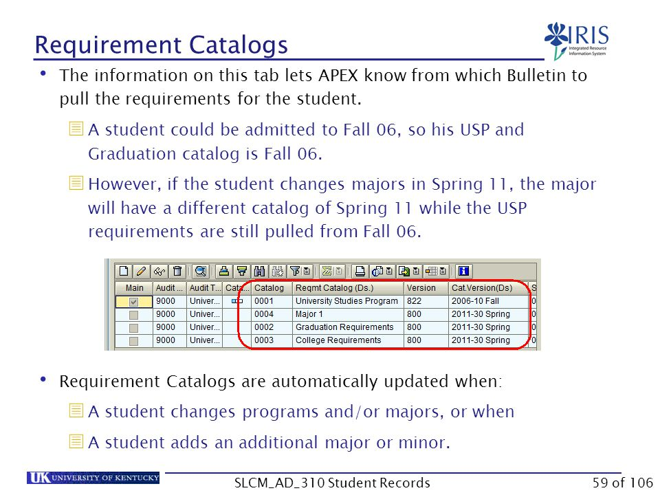 Requirement Catalogs The information on this tab lets APEX know from which Bulletin to pull the requirements for the student.  A student could be adm