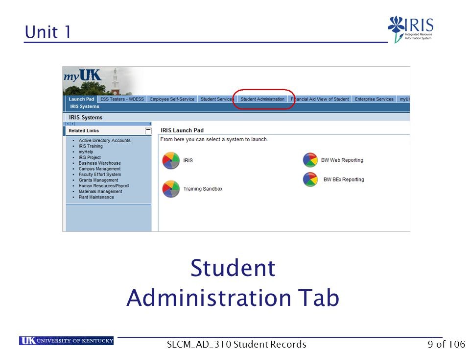 Unit 3- Student File Key Date Field Holds Majors/Minors/Options Tab Registration Tab & Program of Study Requirement Catalogs Program Type Progression Status Advisor(s) Degree Application Process Student Notes 40 of 106SLCM_AD_310 Student Records