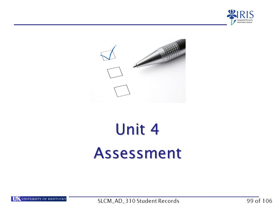 Unit 4 Assessment 99 of 106SLCM_AD_310 Student Records