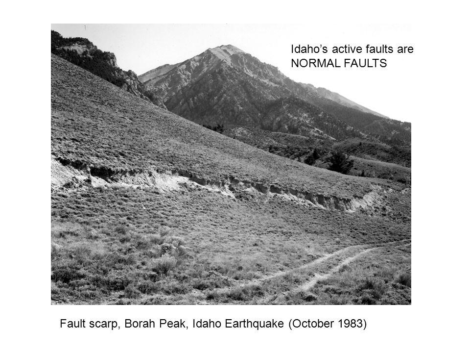 Fault scarp, Borah Peak, Idaho Earthquake (October 1983) Idaho's active faults are NORMAL FAULTS