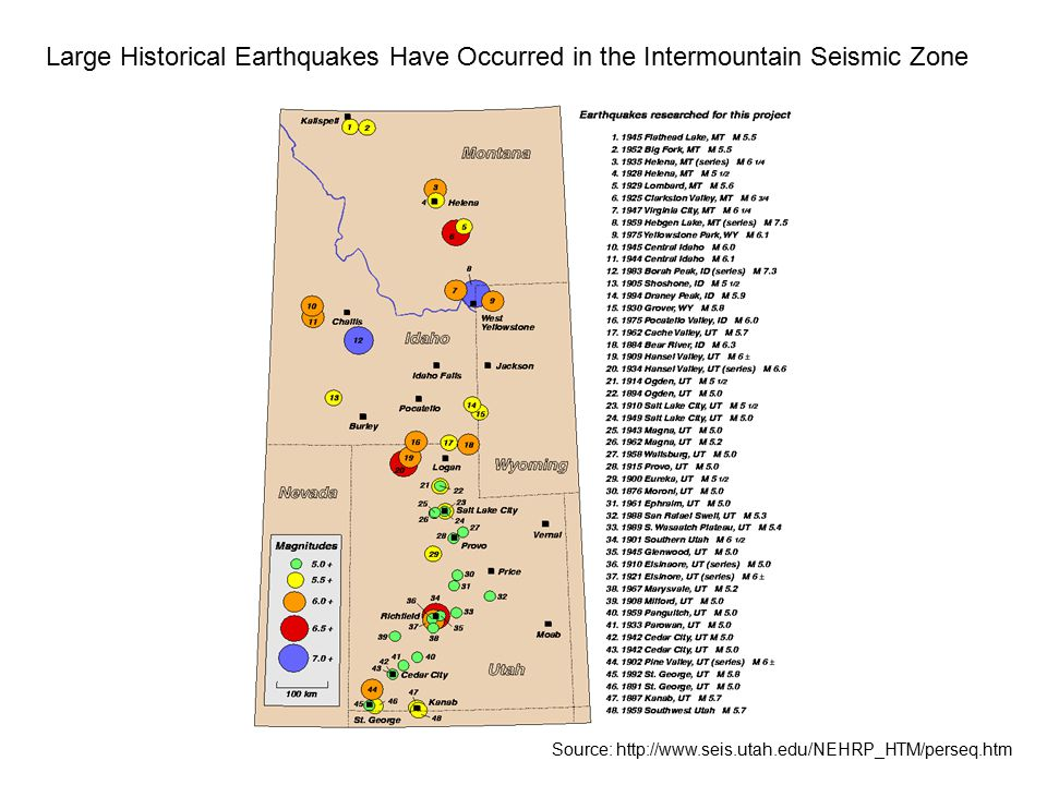 Large Historical Earthquakes Have Occurred in the Intermountain Seismic Zone Source: http://www.seis.utah.edu/NEHRP_HTM/perseq.htm