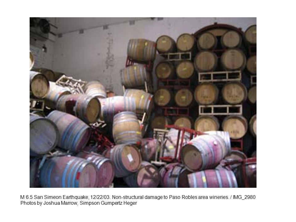 M 6.5 San Simeon Earthquake, 12/22/03. Non-structural damage to Paso Robles area wineries. / IMG_2980 Photos by Joshua Marrow, Simpson Gumpertz Heger