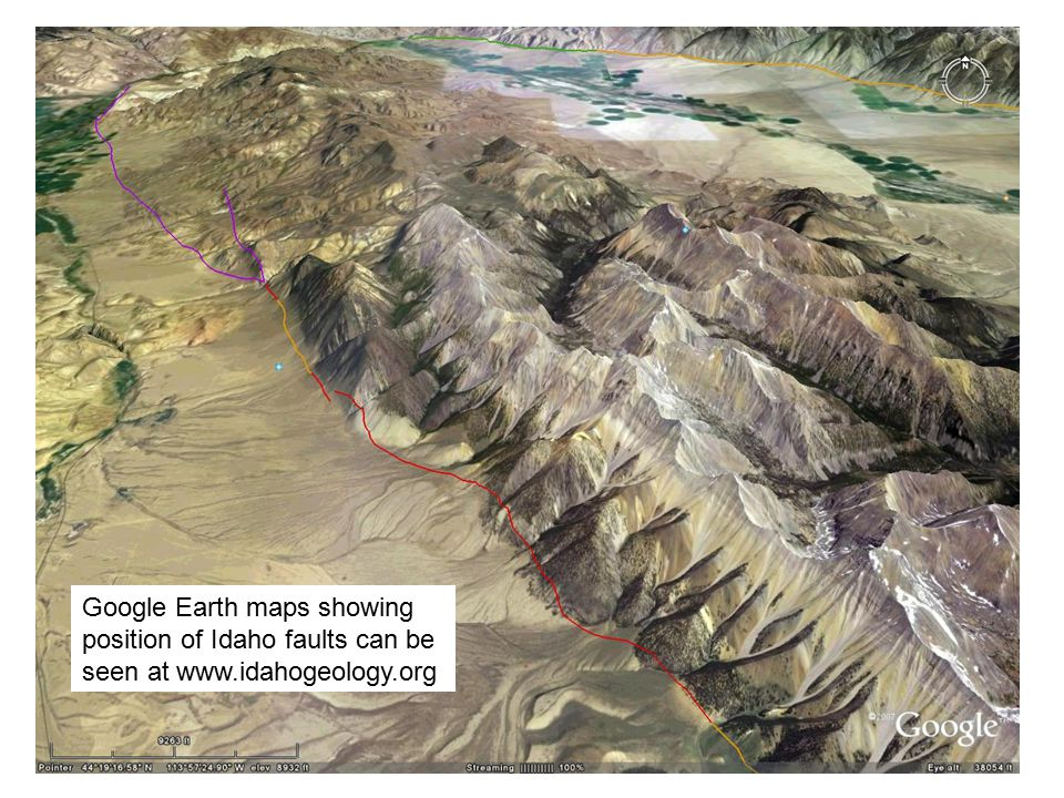 Google Earth maps showing position of Idaho faults can be seen at www.idahogeology.org