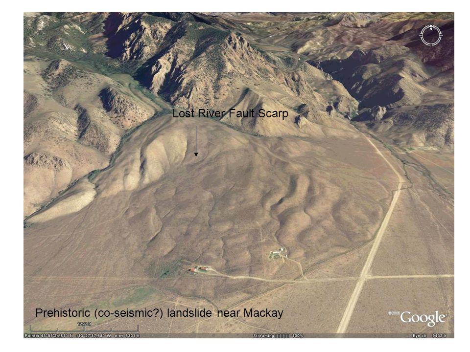 Prehistoric (co-seismic?) landslide near Mackay Lost River Fault Scarp