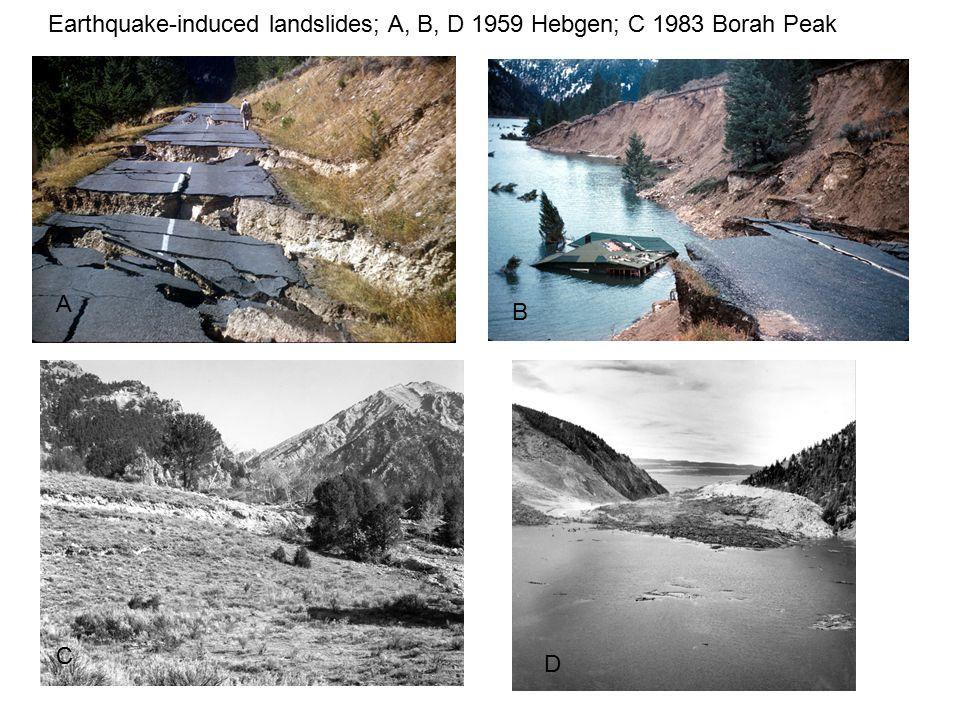 Earthquake-induced landslides; A, B, D 1959 Hebgen; C 1983 Borah Peak A B C D
