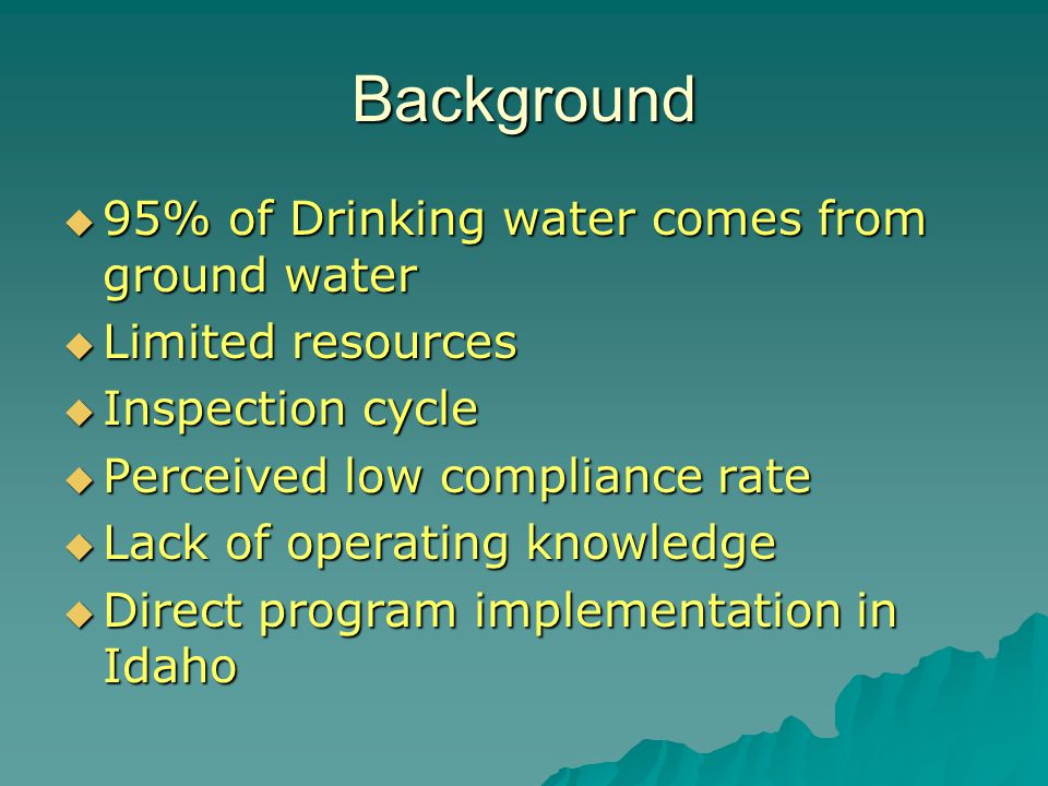 Background  95% of Drinking water comes from ground water  Limited resources  Inspection cycle  Perceived low compliance rate  Lack of operating