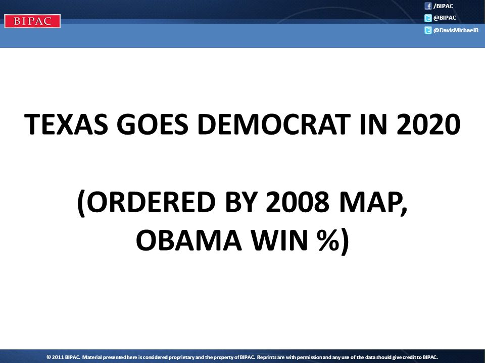 /BIPAC @BIPAC @DavisMichaelR TEXAS GOES DEMOCRAT IN 2020 (ORDERED BY 2008 MAP, OBAMA WIN %)