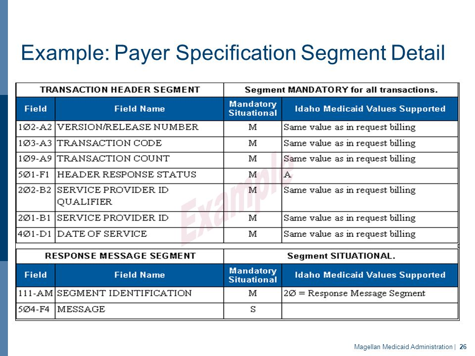 Example: Payer Specification Segment Detail Magellan Medicaid Administration | 26