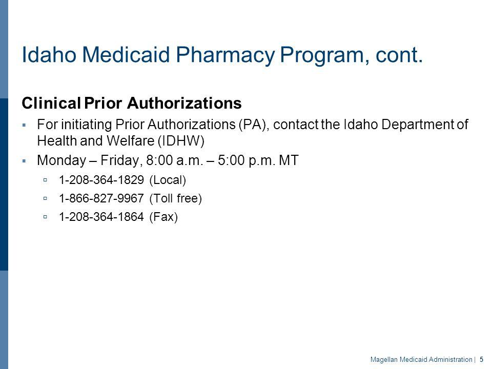 Idaho Medicaid Pharmacy Program, cont.