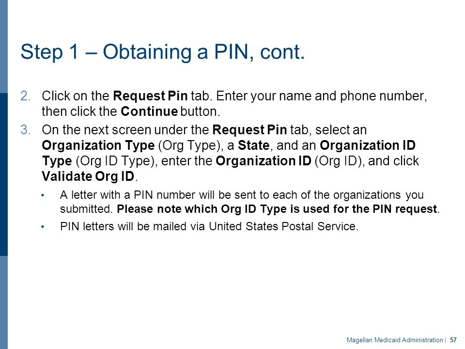 Step 1 – Obtaining a PIN, cont. 2.Click on the Request Pin tab. Enter your name and phone number, then click the Continue button. 3.On the next screen