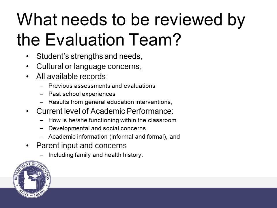 What needs to be reviewed by the Evaluation Team.