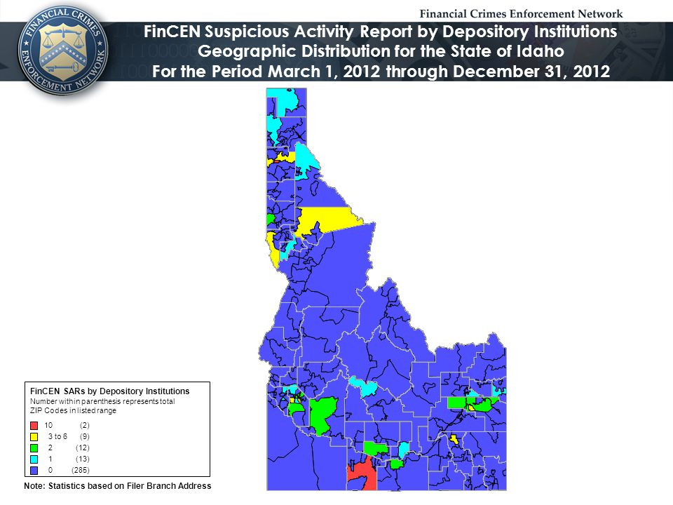Note: Statistics based on Filer Branch Address FinCEN Suspicious Activity Report by Depository Institutions Geographic Distribution for the State of Idaho For the Period January 1, 2013 through December 31, 2013 FinCEN SARs by Depository Institutions Number within parenthesis represents total ZIP codes in listed range 60 to116 (10) 30 to59 (11) 10 to29 (20) 5 to9 (18) 0 to4 (262)