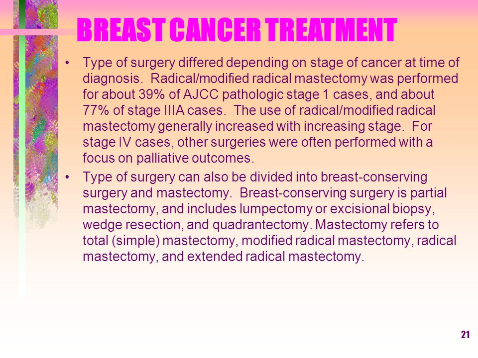 21 Type of surgery differed depending on stage of cancer at time of diagnosis.