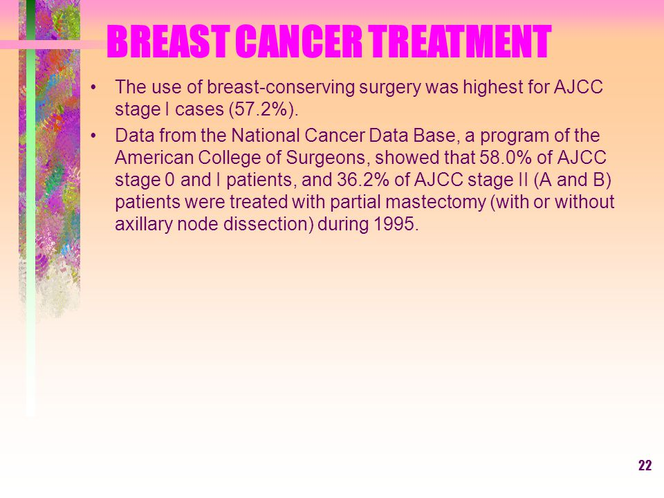 22 The use of breast-conserving surgery was highest for AJCC stage I cases (57.2%).