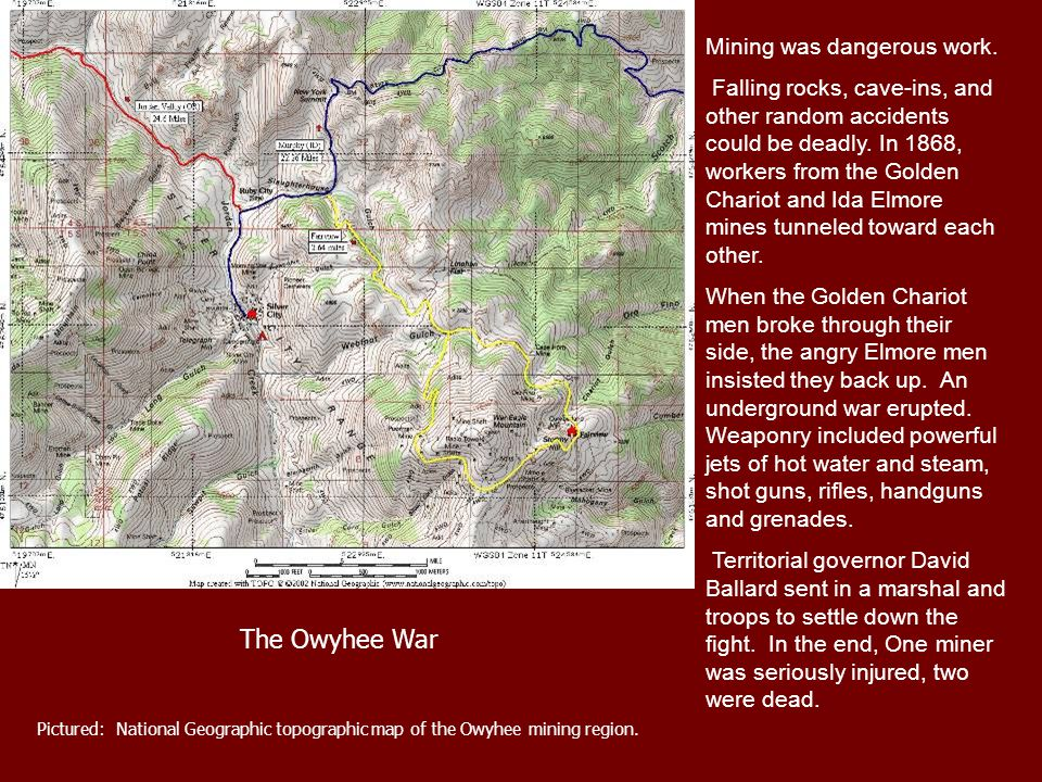 Pictured: National Geographic topographic map of the Owyhee mining region.