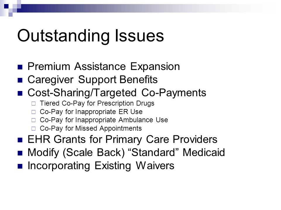 Outstanding Issues Premium Assistance Expansion Caregiver Support Benefits Cost-Sharing/Targeted Co-Payments  Tiered Co-Pay for Prescription Drugs 