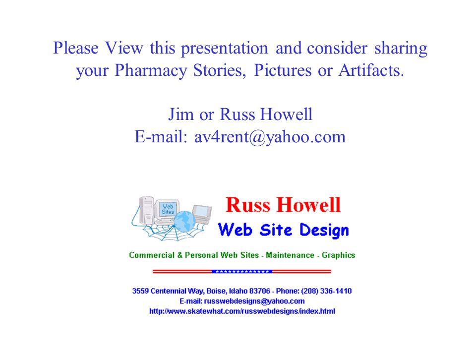 History of Idaho Pharmacy Allen Frisk RPh, M.S.