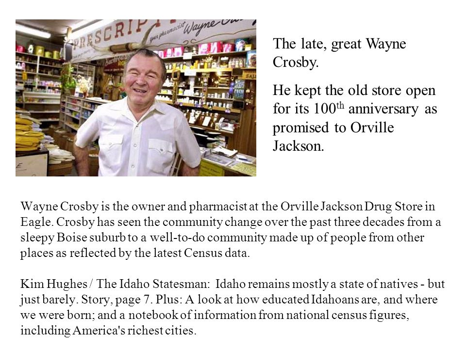 Wayne Crosby is the owner and pharmacist at the Orville Jackson Drug Store in Eagle.