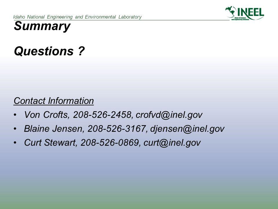 Summary Questions ? Contact Information Von Crofts, 208-526-2458, crofvd@inel.gov Blaine Jensen, 208-526-3167, djensen@inel.gov Curt Stewart, 208-526-