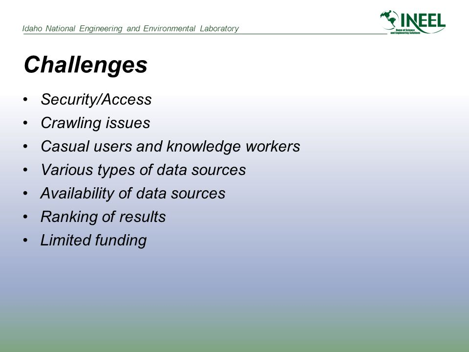 Idaho National Engineering and Environmental Laboratory Challenges Security/Access Crawling issues Casual users and knowledge workers Various types of