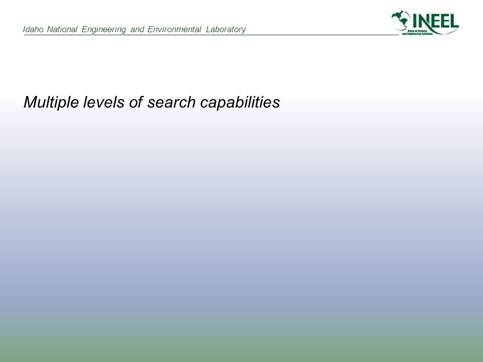 Idaho National Engineering and Environmental Laboratory Multiple levels of search capabilities