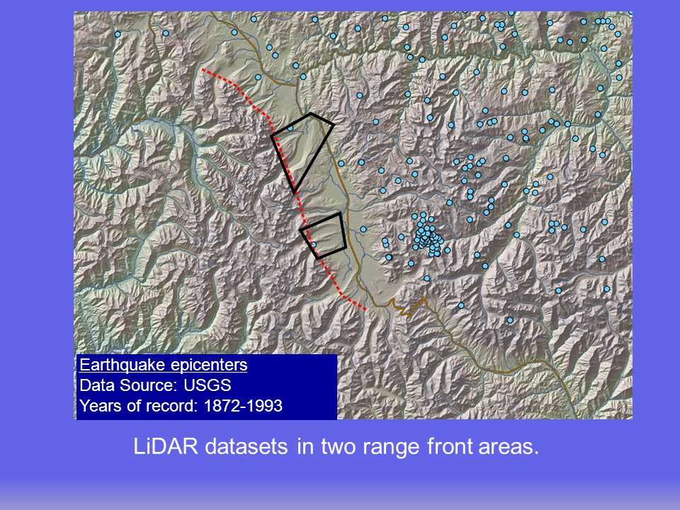 LiDAR datasets in two range front areas.