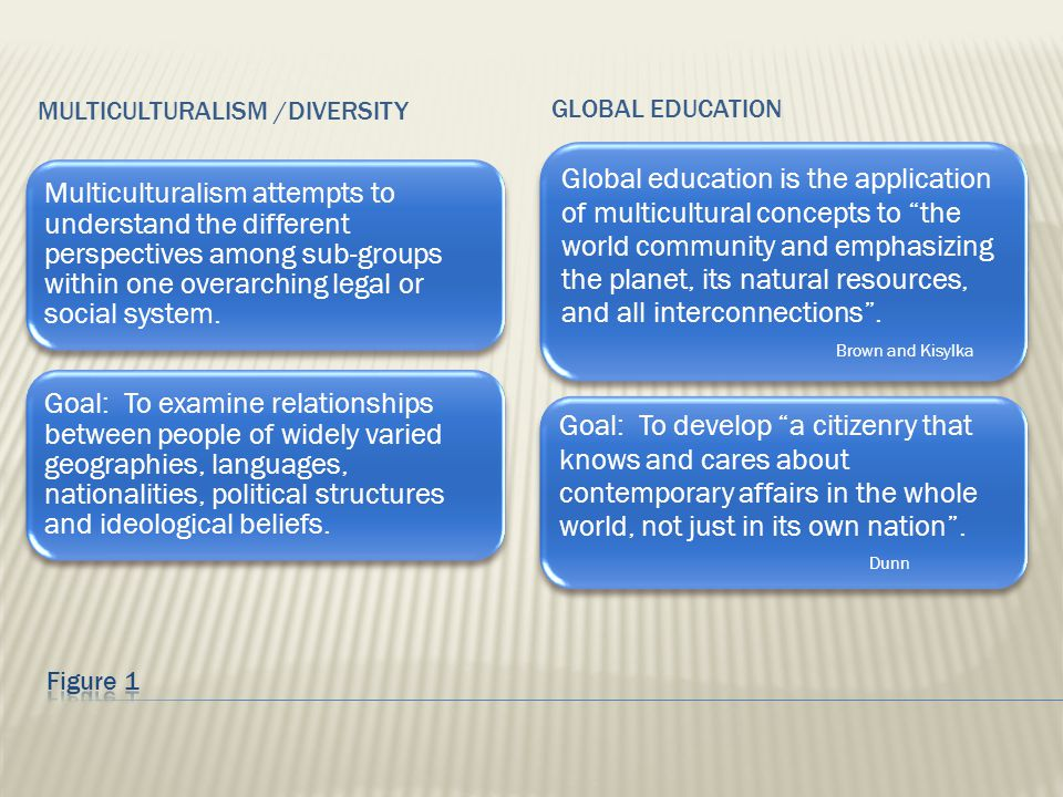 MULTICULTURALISM /DIVERSITY GLOBAL EDUCATION Global education is the application of multicultural concepts to the world community and emphasizing the planet, its natural resources, and all interconnections .