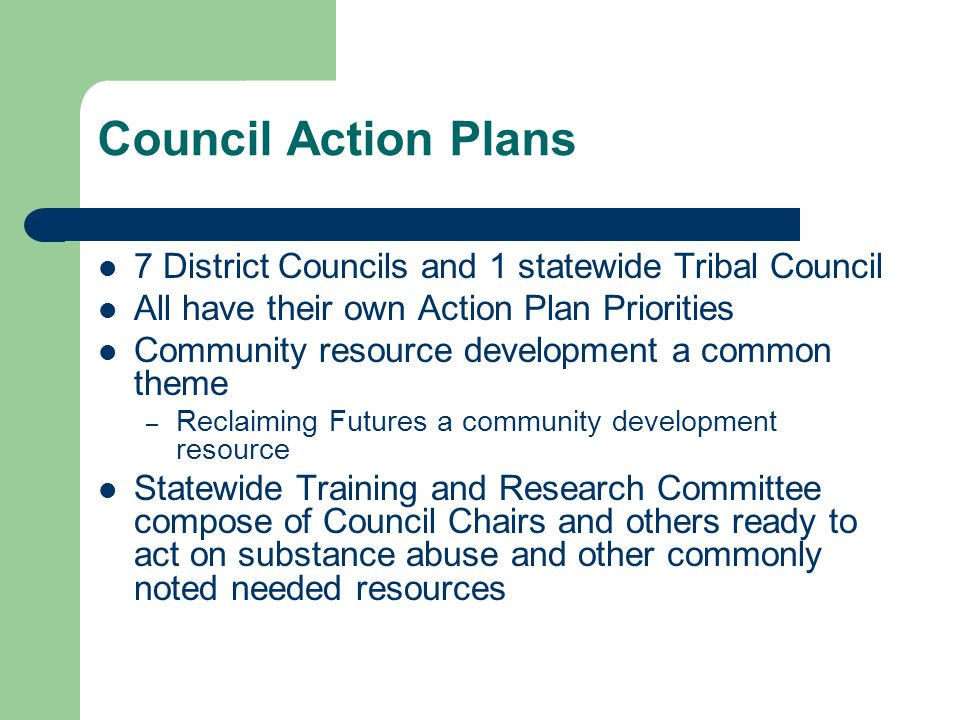 Council Action Plans 7 District Councils and 1 statewide Tribal Council All have their own Action Plan Priorities Community resource development a common theme – Reclaiming Futures a community development resource Statewide Training and Research Committee compose of Council Chairs and others ready to act on substance abuse and other commonly noted needed resources