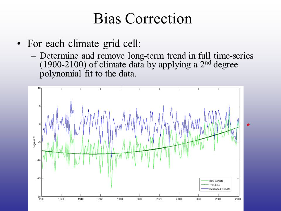 For each climate grid cell: –Compute  T between de-trended climate data and observational data Determine mean difference between de-trended climate data and observation data for 1950-1999 TT Bias Correction