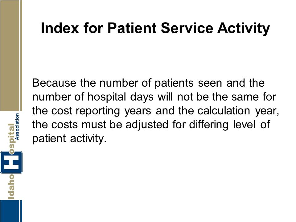 Index for Patient Service Activity Because the number of patients seen and the number of hospital days will not be the same for the cost reporting yea