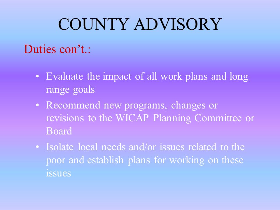 COUNTY ADVISORY Regularly monitor progress in work plans in each county Recommend strategy for achieving work plan to county staff Provide support for all county program staff Act as an advisory group to the Executive Director in hiring of center managers Evaluate the involvement of low-income in all funded programs and make recommendations to staff Duties: