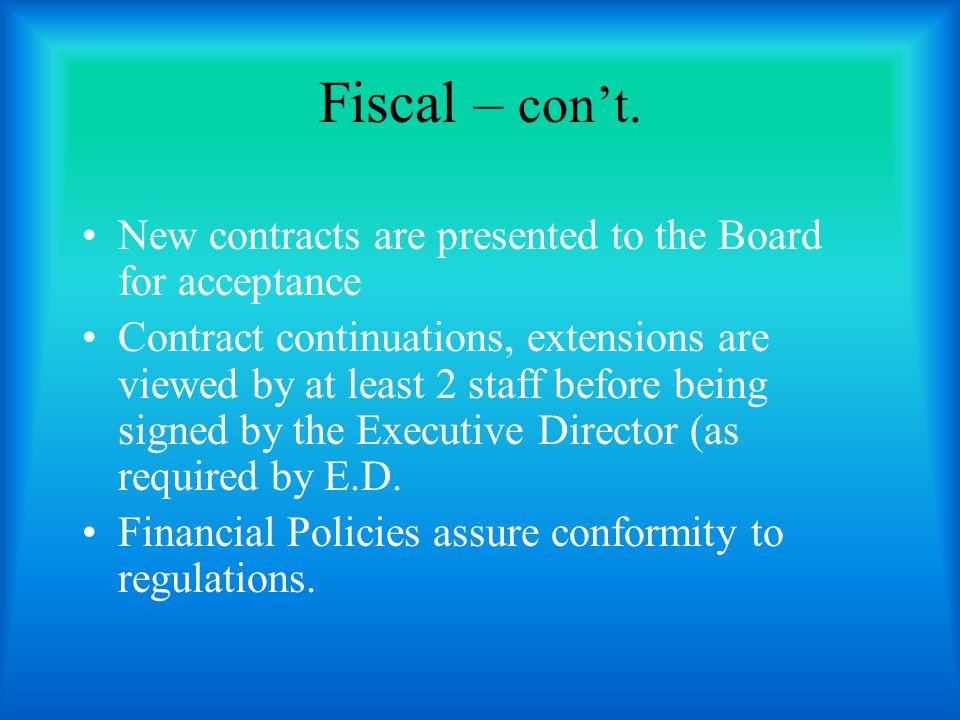 Fiscal – con't.