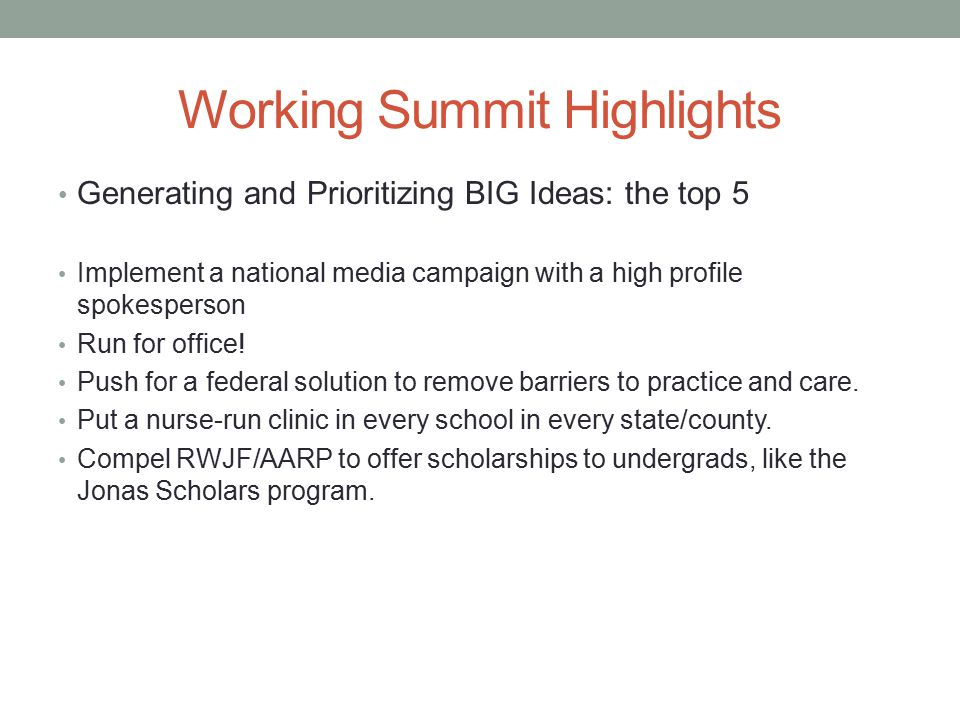 Working Summit Highlights Generating and Prioritizing BIG Ideas: the top 5 Implement a national media campaign with a high profile spokesperson Run for office.