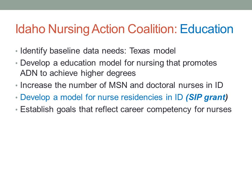 Idaho Nursing Action Coalition: Education Identify baseline data needs: Texas model Develop a education model for nursing that promotes ADN to achieve higher degrees Increase the number of MSN and doctoral nurses in ID Develop a model for nurse residencies in ID (SIP grant) Establish goals that reflect career competency for nurses