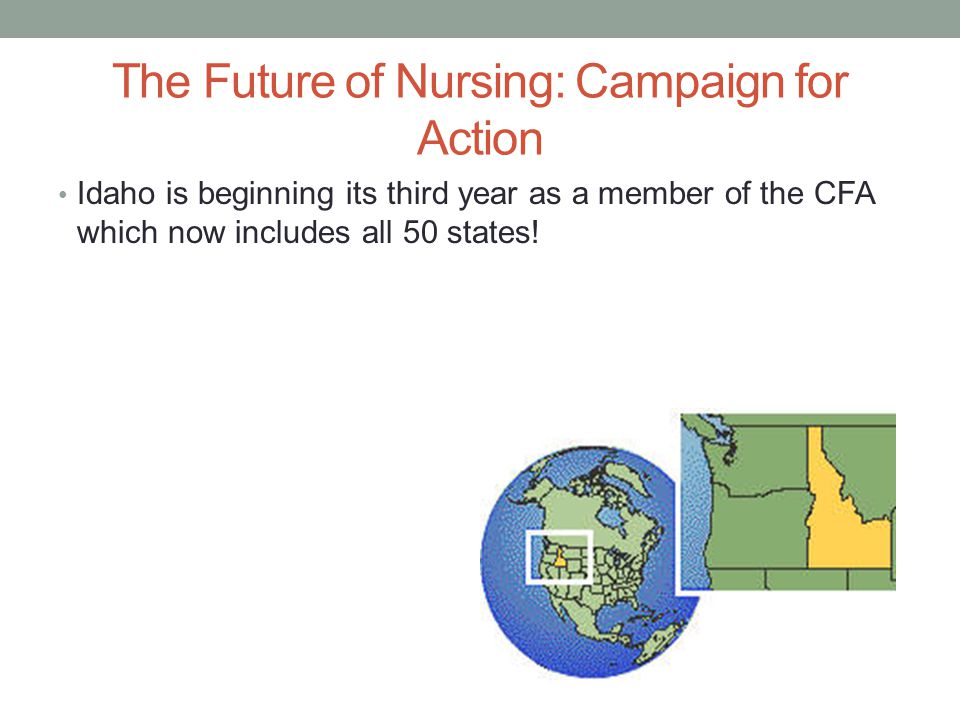 The Future of Nursing: Campaign for Action Idaho is beginning its third year as a member of the CFA which now includes all 50 states!
