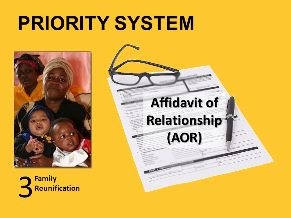 3 Family Reunification Affidavit of Relationship (AOR) PRIORITY SYSTEM