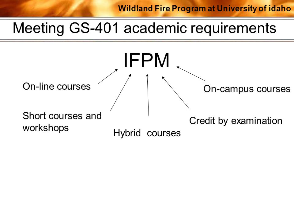 Wildland Fire Program at University of idaho IFPM On-line courses Credit by examination On-campus courses Short courses and workshops Meeting GS-401 a