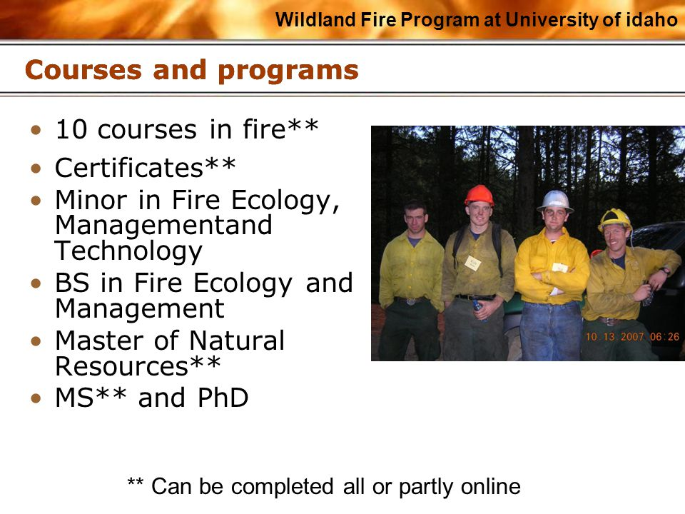 Wildland Fire Program at University of idaho Courses and programs 10 courses in fire** Certificates** Minor in Fire Ecology, Managementand Technology BS in Fire Ecology and Management Master of Natural Resources** MS** and PhD ** Can be completed all or partly online