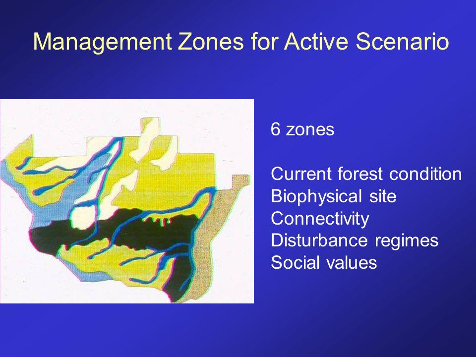 Management Zones for Active Scenario 6 zones Current forest condition Biophysical site Connectivity Disturbance regimes Social values