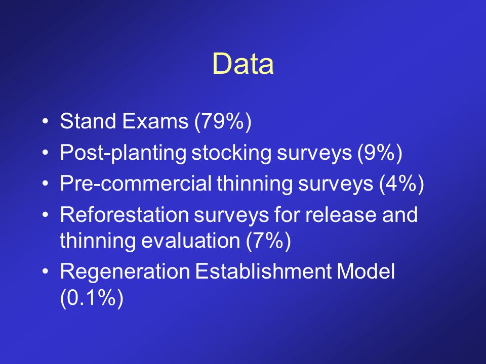 Data Stand Exams (79%) Post-planting stocking surveys (9%) Pre-commercial thinning surveys (4%) Reforestation surveys for release and thinning evaluat