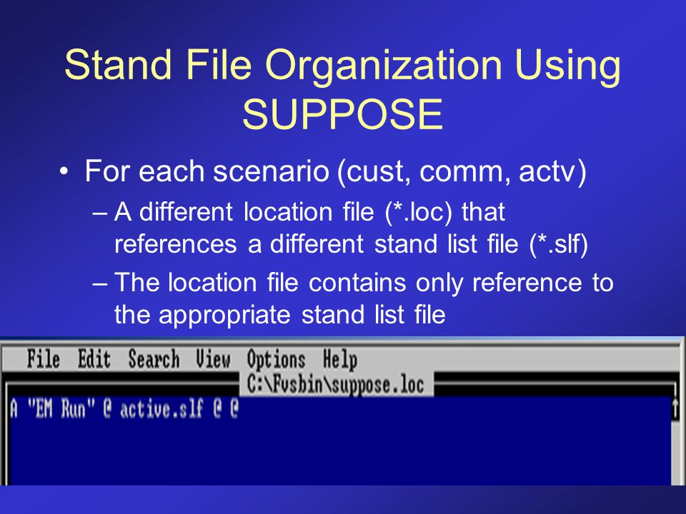 Stand File Organization Using SUPPOSE For each scenario (cust, comm, actv) –A different location file (*.loc) that references a different stand list f