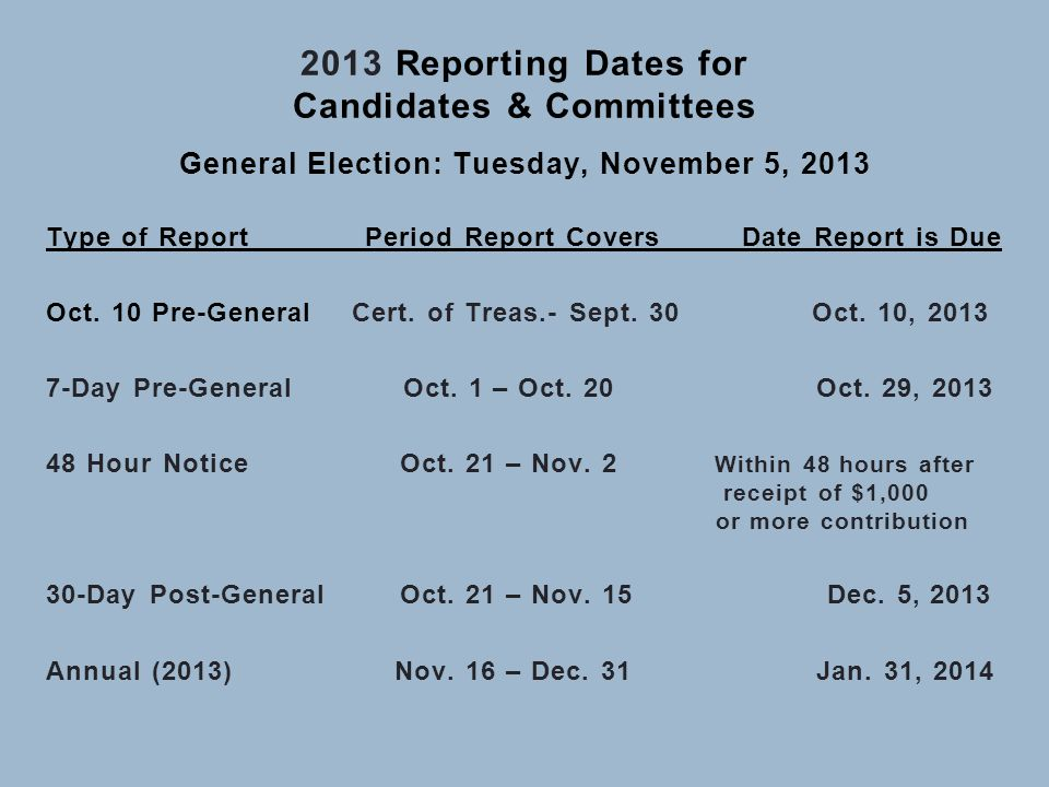 2013 Reporting Dates for Candidates & Committees General Election: Tuesday, November 5, 2013 Type of Report Period Report Covers Date Report is Due Oc