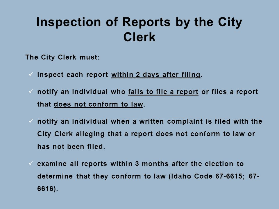 Inspection of Reports by the City Clerk The City Clerk must: inspect each report within 2 days after filing. notify an individual who fails to file a