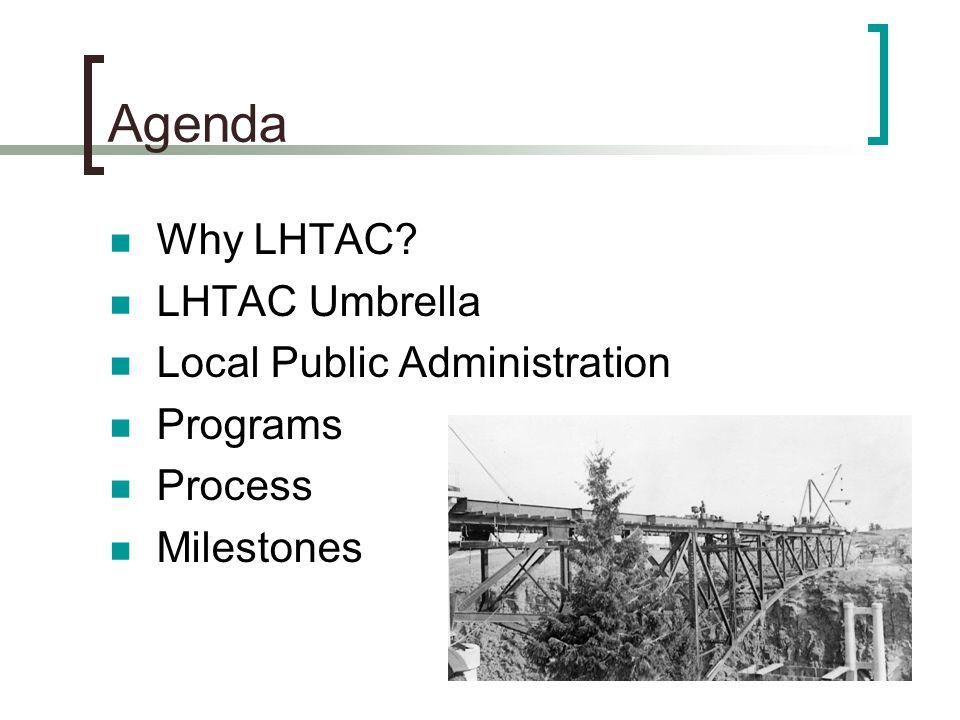Agenda Why LHTAC LHTAC Umbrella Local Public Administration Programs Process Milestones