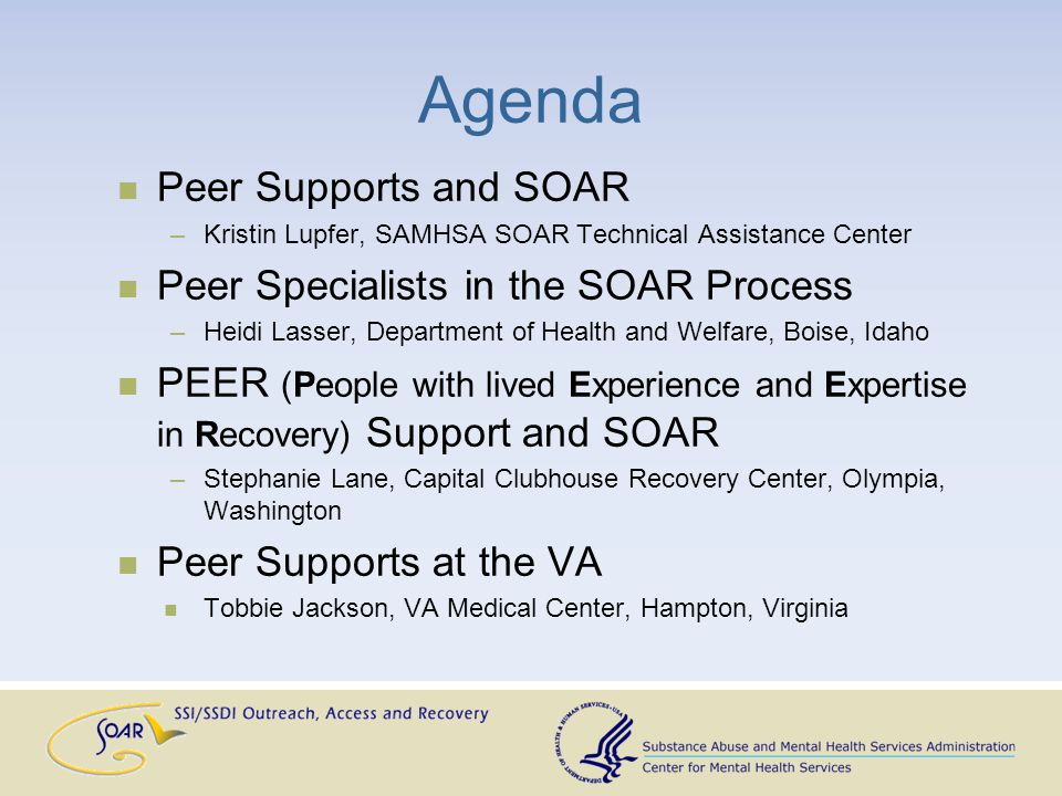 Ideas and Next Steps Hold a national training for Certified Peer Specialists to assist in the SOAR process Gather success stories Outline pros and cons of including Peer Support Specialists in process A refresher course on ethics and confidentiality would be advised