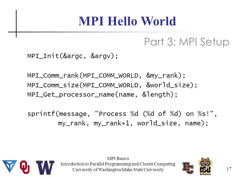 MPI Basics Introduction to Parallel Programming and Cluster Computing University of Washington/Idaho State University MPI Hello World MPI_Init(&argc, &argv); MPI_Comm_rank(MPI_COMM_WORLD, &my_rank); MPI_Comm_size(MPI_COMM_WORLD, &world_size); MPI_Get_processor_name(name, &length); sprintf(message, Process %d (%d of %d) on %s! , my_rank, my_rank+1, world_size, name); 17