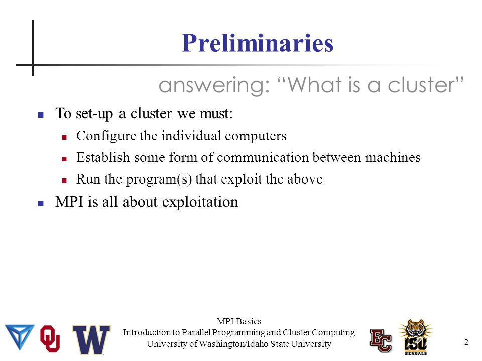 MPI Basics Introduction to Parallel Programming and Cluster Computing University of Washington/Idaho State University So what does MPI do.