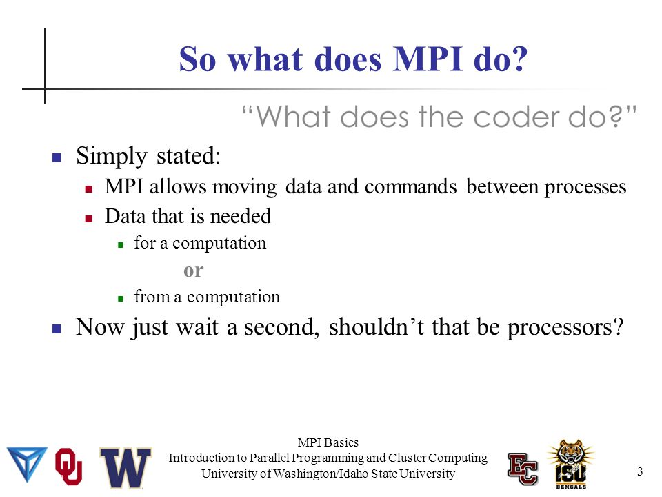 MPI Basics Introduction to Parallel Programming and Cluster Computing University of Washington/Idaho State University Simple or Complex.