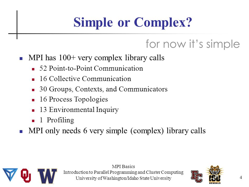 MPI Basics Introduction to Parallel Programming and Cluster Computing University of Washington/Idaho State University MPI Hello World #include #define SERVER 0 #define TAG 2 15