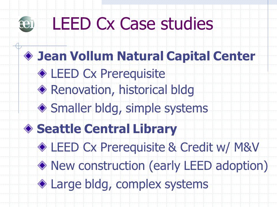 LEED Cx Case studies Jean Vollum Natural Capital Center LEED Cx Prerequisite Renovation, historical bldg Seattle Central Library LEED Cx Prerequisite